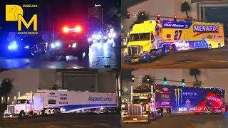 Nascar Trucks Hauler Parade Las Vegas 🏁 Freaking Awesome Truck Convoy On The Strip