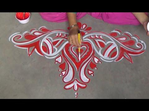 Door alpana designs rangoli designs muggulu designs youtube for Door rangoli design images new