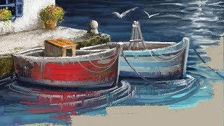 Digital Painting - Greek Sea Port - Photoshop Painting with the MA-Brushes