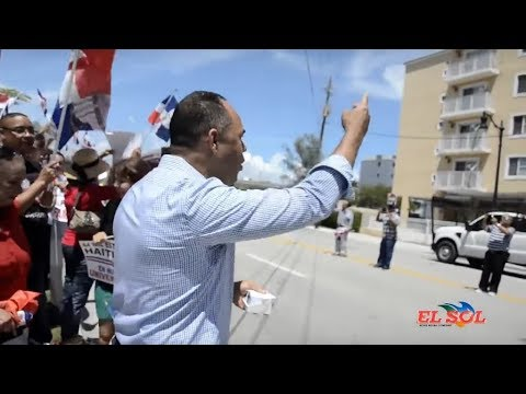 Dominicans vs Haitians in Miami. Dominicans and Haitians protest march