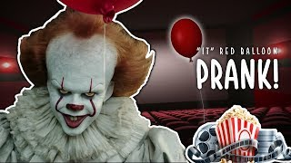"Hilarious ""it"" red balloon prank at the movie theater"