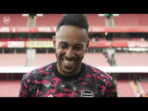 Fans chant Aubameyang's name during his interview |  Arsenal vs Norwich (1-0) |  Premier league