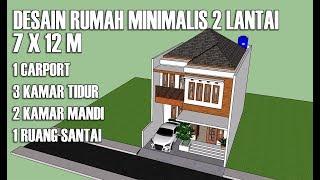 DESAIN RUMAH MINIMALIS 2 LANTAI FULL BANGUNAN 7 X 12M