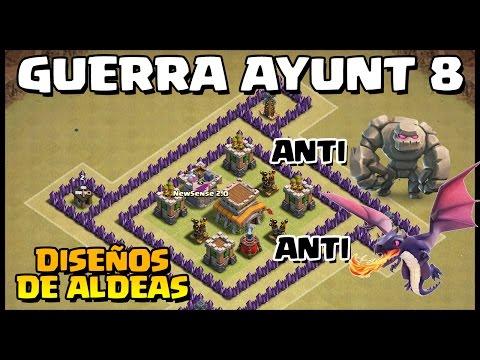 DISEÑO DE ALDEA GUERRA AYUNT 8 - ANTI GOLEM Y DRAGONES - Clash of Clans - Español - CoC