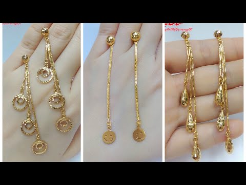 37b306c95 Latest Gold Drop Earrings Designs with Weight - YouTube