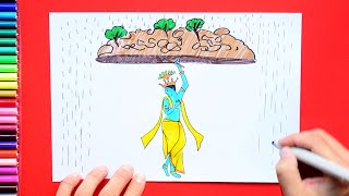 How to draw and color Govardhan Puja - Shri Krishna holding mountain