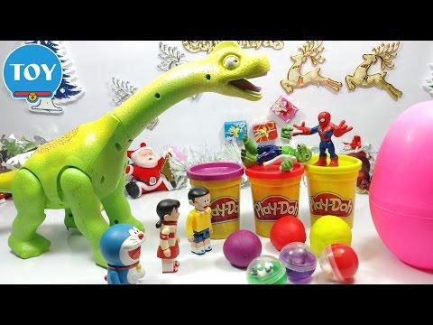 Đồ chơi doremon chế hài - Người nhện bắt kẻ trộm trứng khủng long bị đánh cắp mở hộp quà bất ngờ