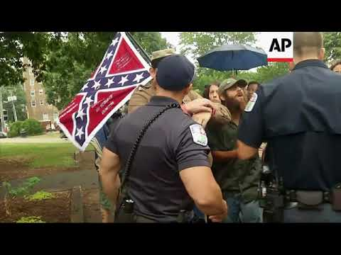 US - Charlottesville - Car strikes group at white nationalist rally / Trump: Both Sides to Blame for