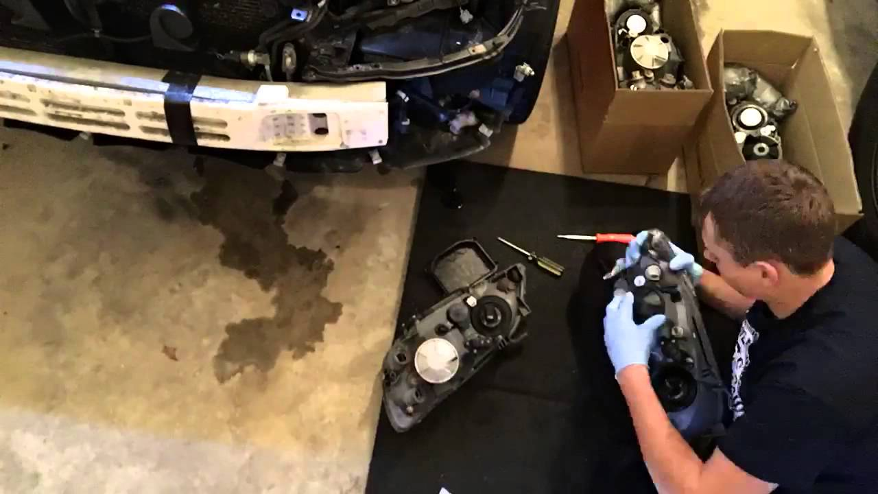 lexus is300 headlights replacement time lapse. - youtube