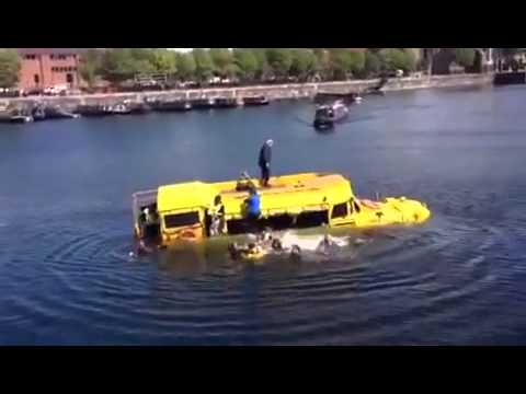 Liverpool famous yellow duck boat sinks in Albert dock.