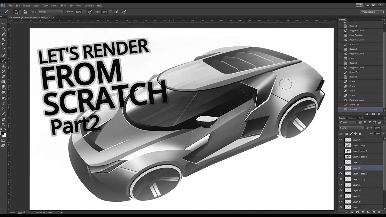 Render a random car design from scratch with Yasid Design Part 2 ...