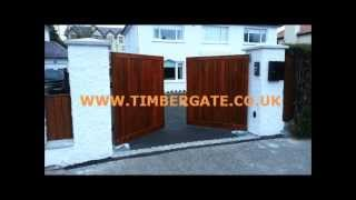 Timbergate Deramore Iroko Gates Automated. A Simple Contemporary Design