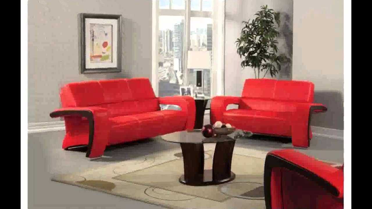 Living Room With Red Sofa Red Leather Couch Decorating Ideas Youtube