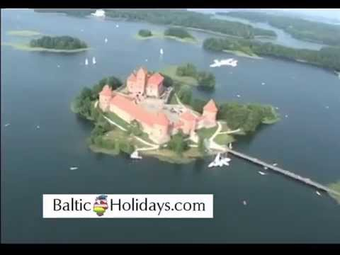 Flying over Trakai castle, Lithuania, with Baltic Holidays