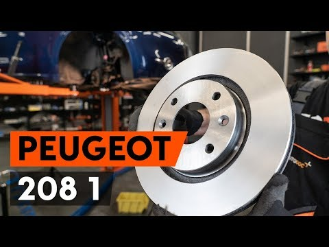 How to replace front brake discs / front brake rotors on PEUGEOT 208 1 (CA_,CC_) [TUTORIAL AUTODOC]