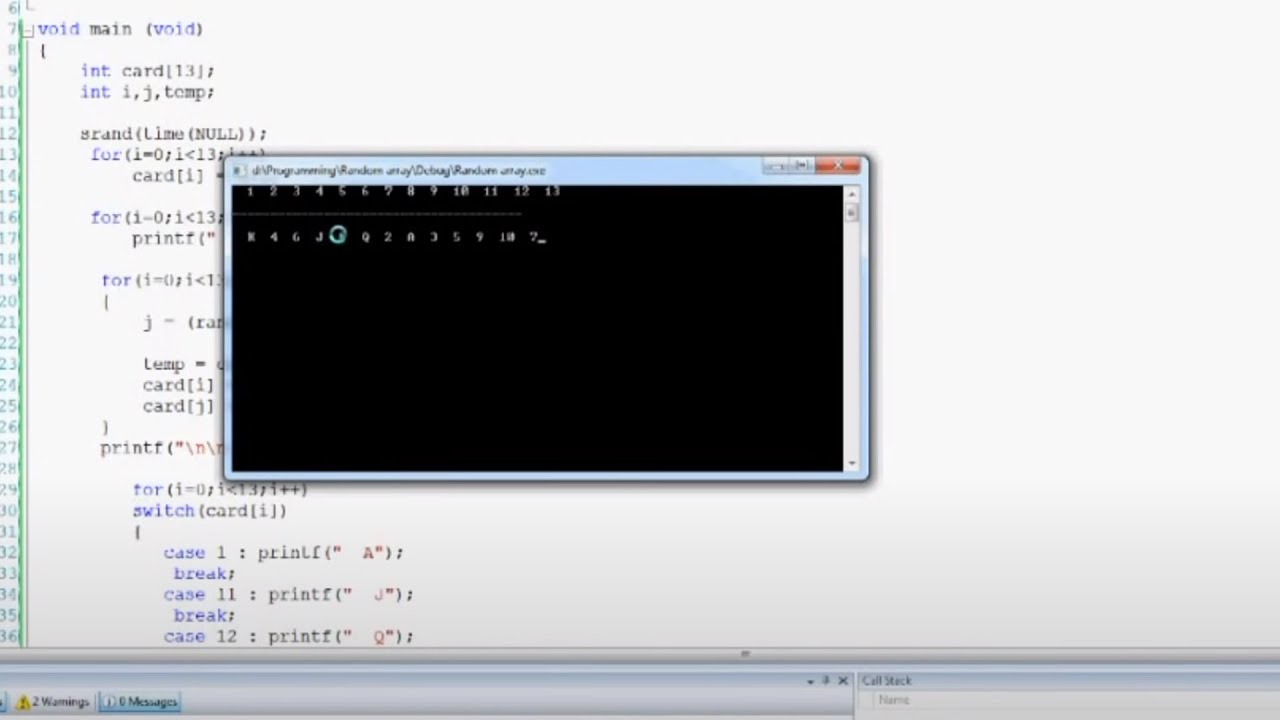 C Programming How To: randomize an array without repeating numbers