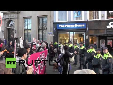 The Netherlands: Police clash with anti-Marine Le Pen protesters