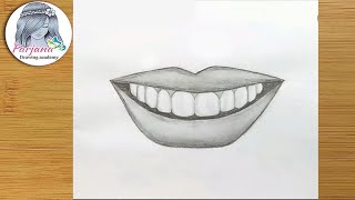Smile lips sketch for Beginners/ EASY WAY TO DRAW SMILE LIPS