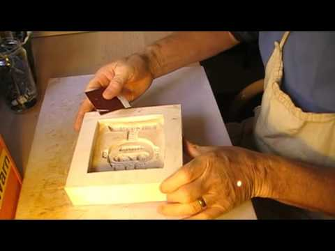 Making a cavity mold for ceramic tiles.