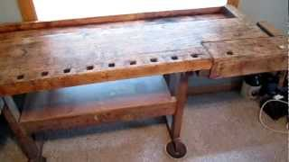 Antique Carpenter's Workbench For Sale   Solid With Great Patina ! Great Conversation Piece.