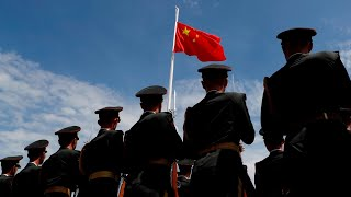 Chinese military assemble at Hong Kong border