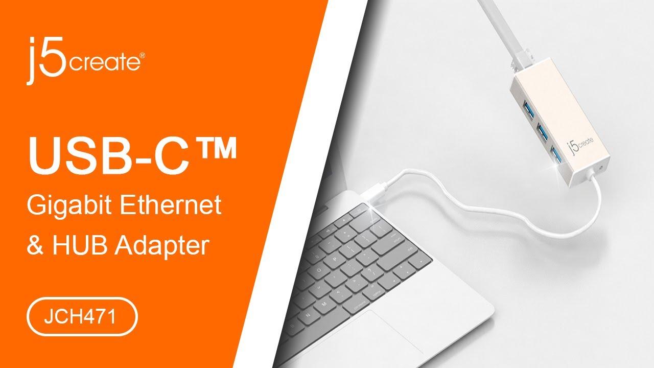j5create® USB Type-C Gigabit Ethernet & HUB Multi-Adapter JCH471