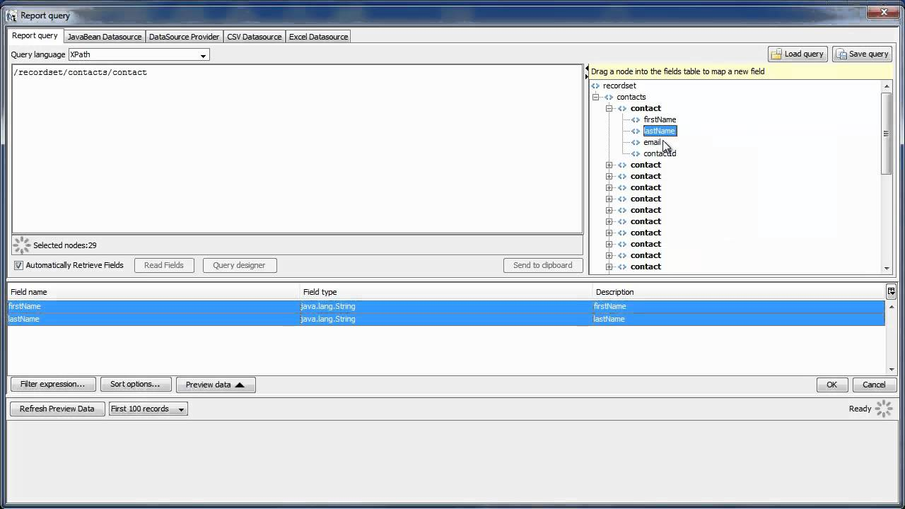 Creating a Jasper Report from an XML Document