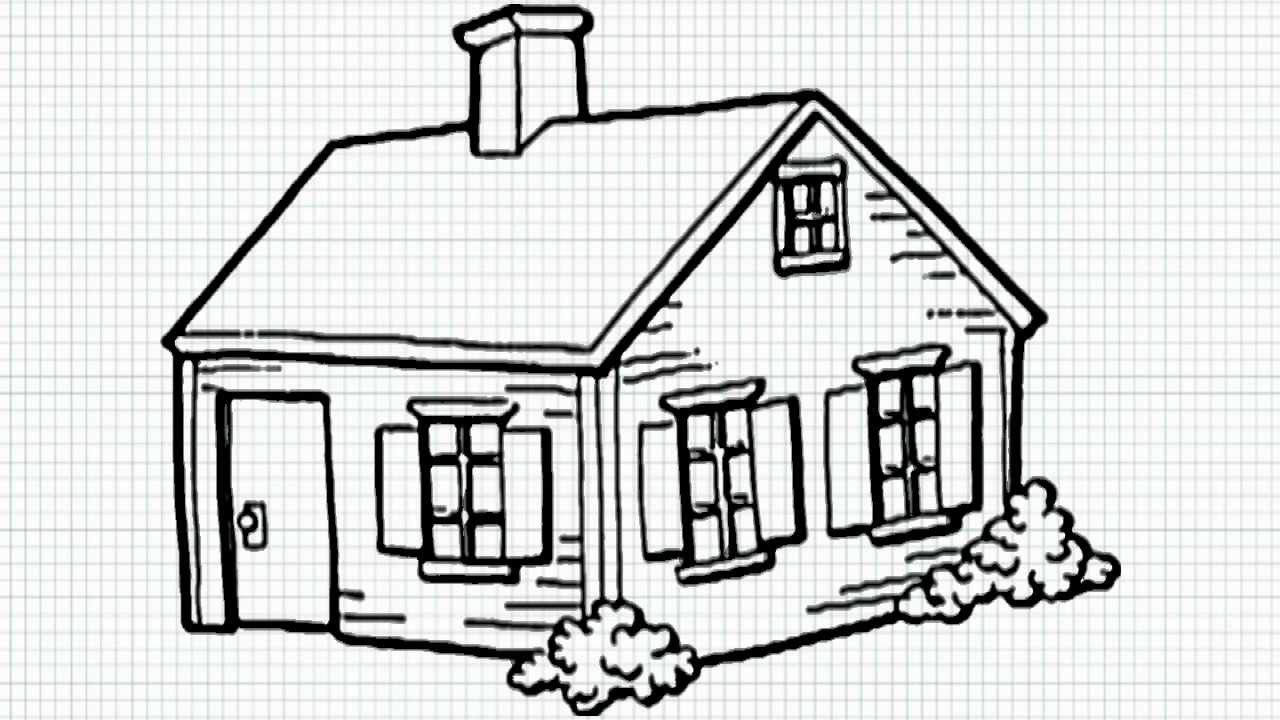 How to draw a house for kids youtube for House sketches from photos