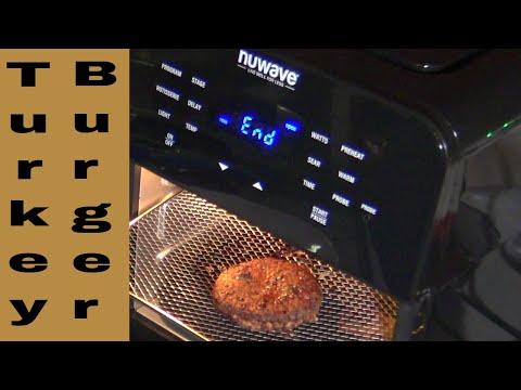 Turkey Burgers from Frozen, NuWave Brio 14Q Digital Air Fryer Oven