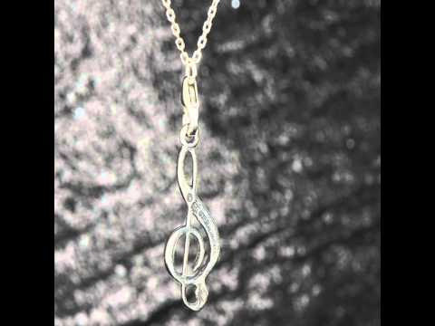 925 Sterling Silver Treble Clef charm pendant music