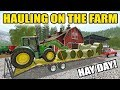 FARMING SIMULATOR 2018 | HAY DAY | HAULING BALES ON THE FARM + HARVEST | EP #16