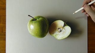 Drawing a green apple and a half