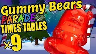 Christmas Gummy Bears Teaching Multiplication Times Tables x9 Educational Math Video for Kids