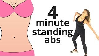 HOME WORKOUT - 4 MINUTE STANDING ABS - TONE YOUR ABS &  SHAPE YOUR WAIST - EQUIPMENT FREE -START NOW