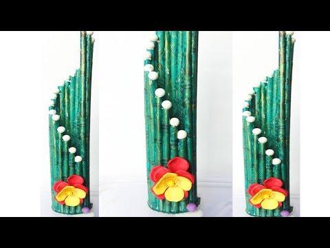 Beautiful Newspaper Flower Vase making  / Pen Holder Making from Newspaper
