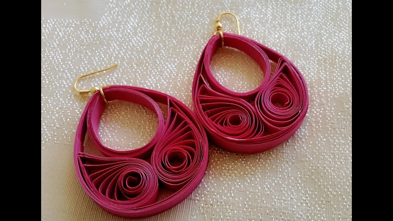 Papercraft New Model quilling papers earring - Paper earrings making tutorial video