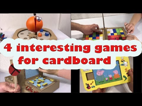 4 interesting games for cardboard.  Diy