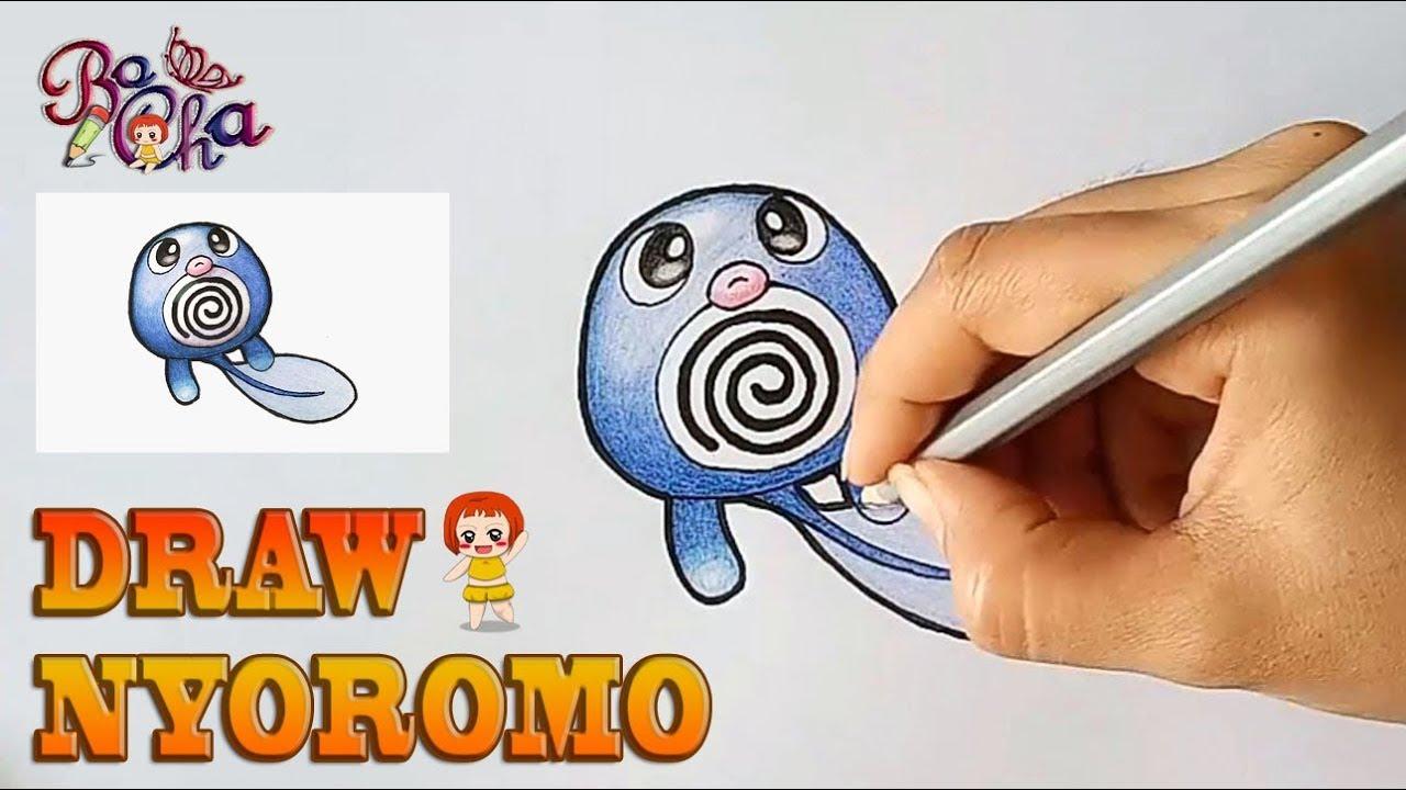 vẽ pokemon nyoromo (Poliwag) – BoCha – How to draw pokemon Poliwag