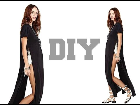 DIY //High split Maxi Dress (Easy Sewing) - YouTube