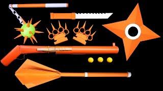 06 Easy Origami Ninja Star/Knife/Gun/Paper Weapon || How to make