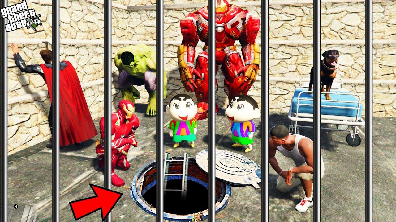 GTA 5 : Shinchan , Pinchan And Franklin Try To Escape Prison in GTA 5 ! (GTA 5 mods)