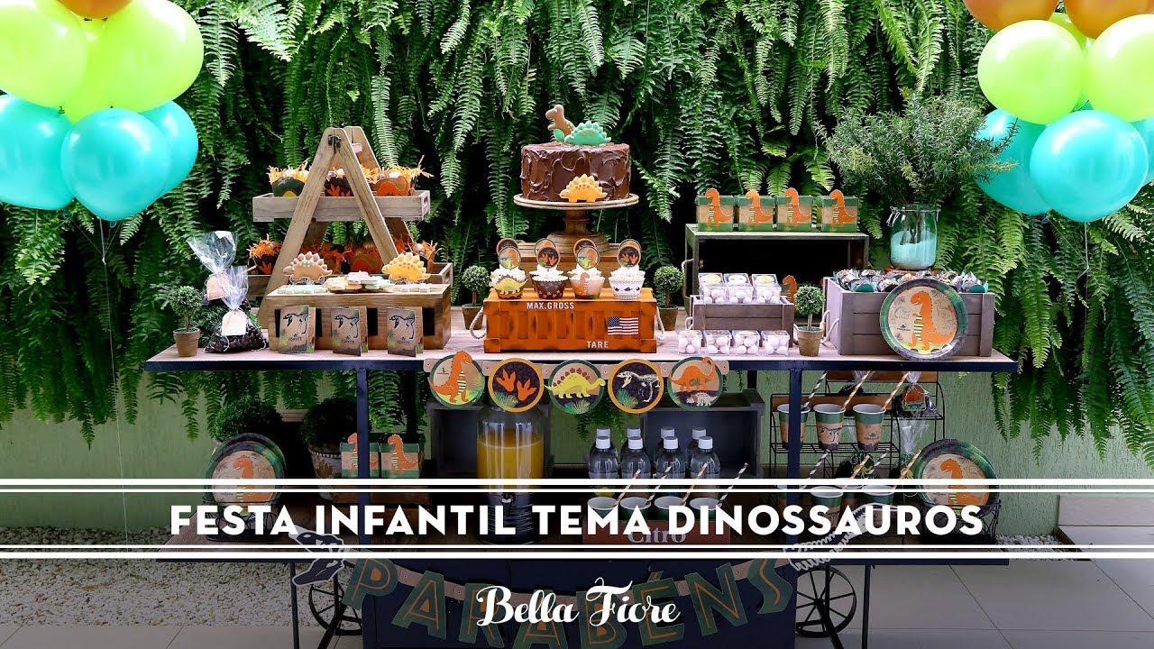 Festa Infantil Tema Dinossauros Como fazer uma decoraç u00e3o incrível e surpreendente YouTube -> Decoração De Mesa Festa Dinossauro