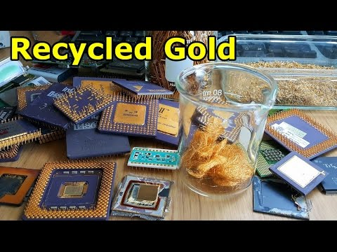 Recycled gold wire bonds from ic chip cpu Electronic devices obsolete.
