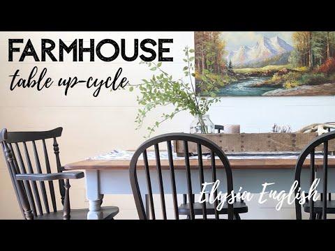 Farmhouse Table Set Refinishing | Up-cycle | Furniture Makeover | Home Decor DIY | Elysia English