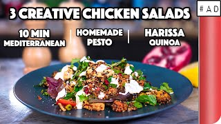3-creative-chicken-salad-recipes-compared-10-min-mediterranean-vs-homemade-pesto-vs-harissa-quinoa