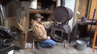 How I use a double barrel wood stove in my shop  January 13, 2018