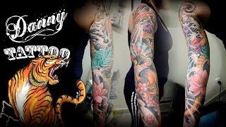 Oriental Fechamento de braço - parte 3 - Danny Tattoo (Oriental Full Sleeve Tattoo part 3)