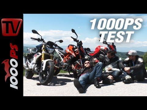 1000PS Test - BMW G 310 R vs. KTM 390 Duke vs. Honda CB 500 F - Einsteiger Nakeds im Vergleich