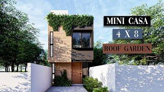 CASA 4 X 8 METROS | MINICASA MODERNA | 2 RECAMARAS | ROOF GARDEN