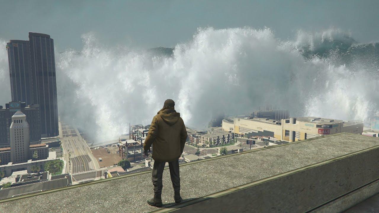 Download GTA 5 - MEGA Tsunami FLOODS Los Santos!